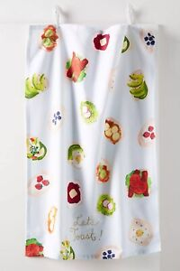 NEW-Anthropologie-Carly Home Let's Toast Dish Towel
