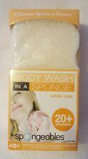 Spongeables: Body Wash In A Sponge - 20+Showers - White Rose - NIB