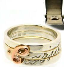 Clogau Cariad 3 Stacking Rings Size O Welsh Silver & Rose Gold