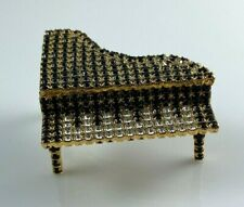 """""""Bauer"""" Black and White Rhinestone Piano, Lid Lifts Up, Pin Brooch """"As Is"""""""