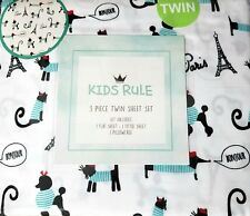 New Kids Rule 3 Piece Twin Sheet Set Teal Black on White French Dogs & Cats
