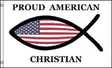 Proud American Christian Flag Religious Banner Jesus Church Pennant 3x5