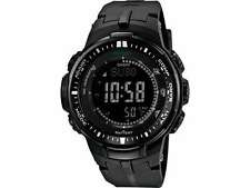 USED Casio ProTrek Watch PRW3000-1A Triple Sensor Ver 3 Solar Atomic BLACK Watch