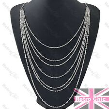 LONG MULTI CHAIN layered NECKLACE chains SILVER FASHION multistrand