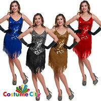 Womens 1920s Fringed Flapper Charleston Gatsby 20s Fancy Dress Party Costume