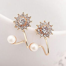 New Pearl Crystal Rhinestone Gold/Silver Plated Earring Ear Stud Jewelry 1 Pair