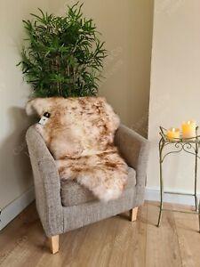 Genuine Sheepskin Rug Ivory Spiced Brown Soft Real Soft Fluffy Wool Skin 95cm