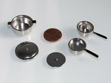 NEW METAL HEAVY POTS & PANS DISHES FOR/FITS VARIOUS SIZE DOLLHOUSE MATTEL DOLLS