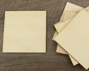 """4 Inch Wood Squares - 3/32"""" Thick - 4"""" Unfinished Craft Pieces Shapes - 50 100"""