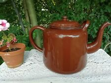 More details for vintage large 1930's/40's ww2  brown enamel 2 litre teapot tea pot