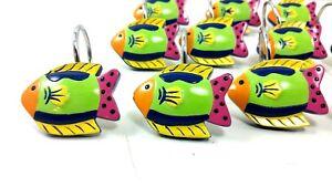 Shower Curtain Hooks Set Of 12 Tropical Rainbow Fish Resin Beach Ocean