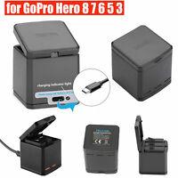 TELESIN Cargador de batería 3 Slots Carrying Storage Box para GoPro Hero 8 7 6 5