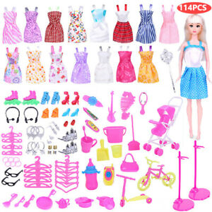 114pcs/Set Dresses For Barbie Doll Shoes Jewellery Clothes Accessories Kids Gift