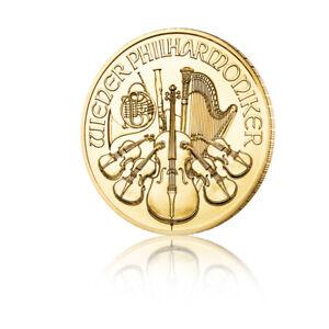 Goldmünze 1/10 oz Wiener Philharmoniker 2021 Österreich in Stempelglanz
