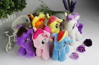 "6pcs/Set 9"" My Little Pony Plush Toy Soft Doll Rainbow Dash Rarity Applejack"