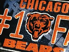 "1 Chicago Bears ""#1 Fan"" Glitter Bling Metal License Plate"