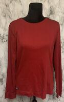 Ralph Lauren Size XL Red Long Sleeve Knit Blouse Elbow Patch/Zipper Accent