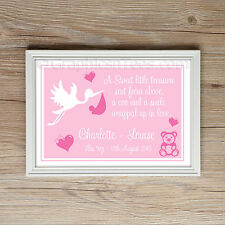 Personalised Christening Gift New Born Baby Girl Keep Sake Present A4 Print