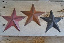 "Set of 3 ~ 8""  BURGUNDY RUSTY BLACK BARN STARS Metal Primitive Country Assorted"