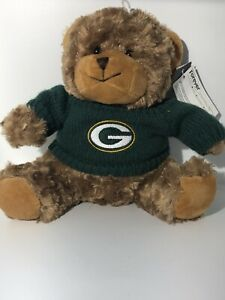 NFL Green Bay Packers Green Sweater Tan Plush Teddy Bear, New With Tag