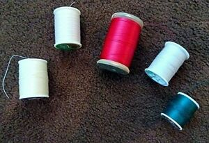 LOT OF FIVE HEAVY DUTY EXTRA STRONG NYLON & POLYESTER THREAD - USED