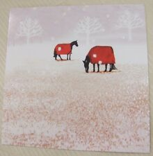 Horses In Frosty Field Glitter Christmas Cards Pack of 10  ~100% for Charity~