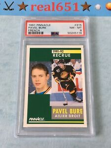 1991 Pinnacle French #315 PAVEL BURE Rookie   PSA 8 NM-MT   HOF Canucks Recrue