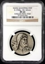 1934 Swiss Shooting Fest Medal, R-1958a, AR, 32mm, Hasler Fritz 1934, NGC MS 64!