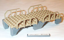Lego Bridge / Platform with Rail 3677 Train Wagon Fence Dark Tan Plate