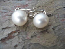 14 KT White Gold & Paspaley South Sea Pearl Earrings Omega Back.......NEW 12 MM