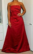 FOREVER YOURS RED DIAMANTE SEQUIN TRIM STRAPLESS FORMAL FULL LENGTH DRESS 14 16
