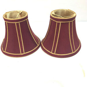 Small Round Bell Lampshades Light Bulb Cover Satin Lined Regal Red Gold Striped