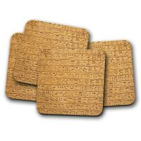 4 Set - Hieroglyphics Stone Tablet Coaster - Language Study Egyptian Gift #16104