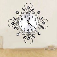 Luxury Metal Diamonds Flower Silent 3D Wall Clock For Office House Living Room