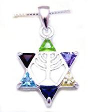"925 Sterling silver Star of David  Menorah pendant  18"" necklace  ISRAEL JUDAICA"