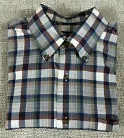 Nautica Shirt Casual Button Up Mens Size L Blue Bergundy Tan Brown Plaid