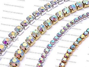 1 Metre Diamante/Rhinestone AB Rainbow Crystal Chain Silver & Gold Base UK