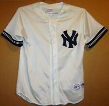 NEW YORK YANKEES WHITE MESH BUTTON-DOWN JERSEY - MAJESTIC SIZE LARGE