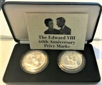 THE EDWARD V111 60th ANNIVERSARY Privy Marks SILVER Coin Set