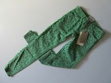NWT Current/Elliott The Ankle Skinny in Rasta Green Leopard Fringed Jean 25 $198