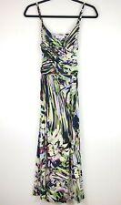 Jennifer Lopez Womens M Green Purple Print Slinky Tropical Sleeveless Midi Dress