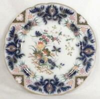 Antique Flow Blue Luncheon Plate Porcelain Flowers Dragonfly B&M's Imari Style