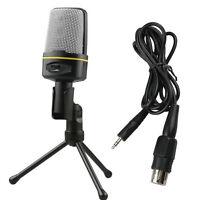 Pro Condenser Mini Stand Microphone Mic 3.5mm Jack For PC Laptop Skype MSN Skype