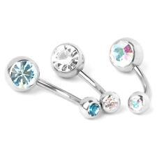 8x Rhinestone Titanium body jewelry navel piercing O5A7