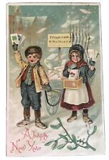 Vintage New Year Postcard - Boy & Girl with Letters 1907