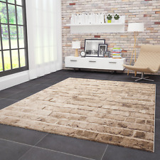 Wohnzimmer Teppich Modern Stein Optik Mauer Muster Strapazierfähig in Braun NEU