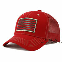 USA AMERICAN Flag Hat Tactical Operator Mesh Trucker Snapback Baseball Cap- Red
