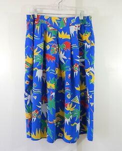 vintage 80s DIANE VON FURSTENBERG skirt midi pleated colorful casual LARGE