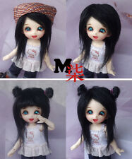 "New 4""-5"" 12cm BJD fabric fur wig Black for AE PukiFee lati 1/12 Doll Antiskid"