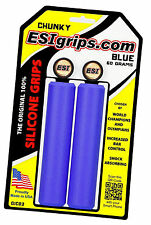 ESI Chunky BLUE Mountain Bike Grips 100% Silicone Shock Absorbing 130mm 60g 32mm
